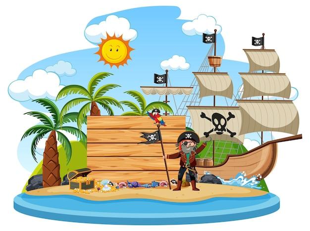 Île pirate avec une bannière vide isolé sur fond blanc