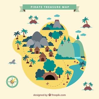 Ile plate avec un trésor pirate