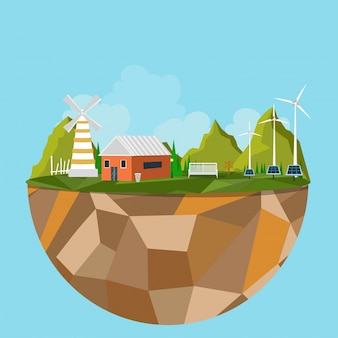 Île polygonale avec vue sur la ville verte, concept écologique.