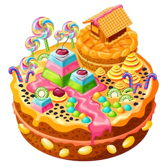 Île sucrée avec rivière au caramel et maison de gâteau