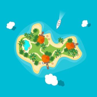 Île tropicale de couleur de dessin animé dans la conception plate de style de vue de dessus d'océan ou de mer. illustration vectorielle