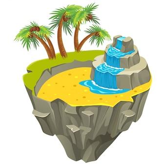 Île tropicale isométrique avec palmiers