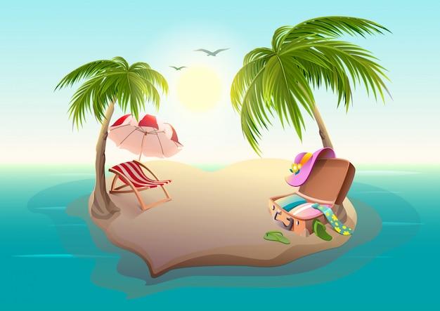 Île tropicale et palmiers en mer bleue
