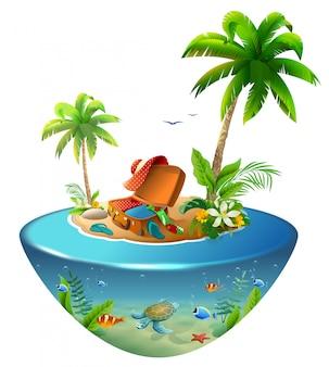Île tropicale avec palmiers en mer. valise et vêtements d'extérieur pour des vacances à la plage