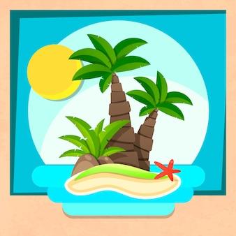 Île tropicale avec palmiers et océan