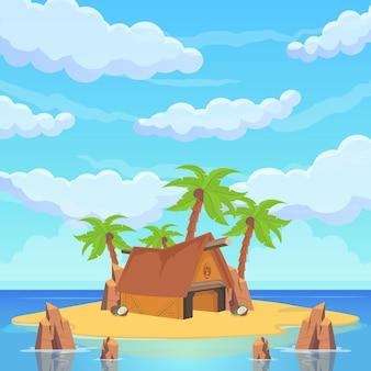 Île tropicale parmi la mer. palmiers, plages de sable, rochers, statues, tentes et maisons rituelles. mer plage beau paysage. illustration vectorielle