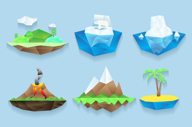 Îles définies dans un style poligonal.