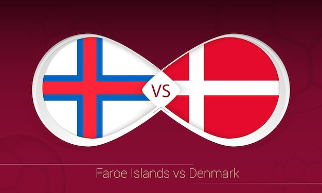 Îles féroé contre le danemark en compétition de football, icône du groupe f. versus sur fond de football.