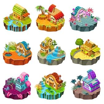 Îles isométriques avec chalets.