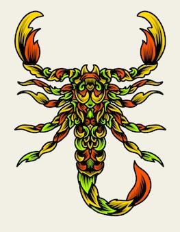 Illstration de scorpion avec style d'ornement coloré