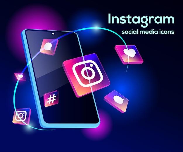 Illsutration 3d instagram avec smartphone sophistiqué et icônes