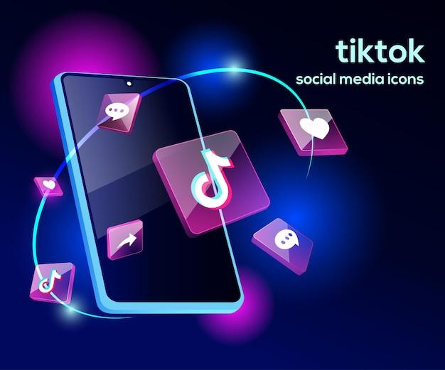 Illsutration 3d tiktok avec smartphone sophistiqué et icônes
