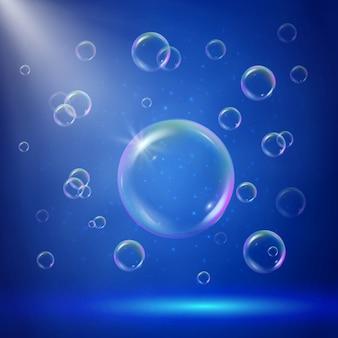 Illumination de la scène avec des projecteurs et des bulles