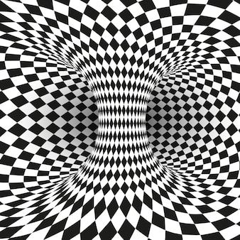 Illusion d'optique carrée géométrique noir et blanc