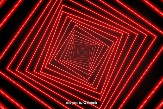 Illusion d'optique sur fond de lignes lumineuses rouges