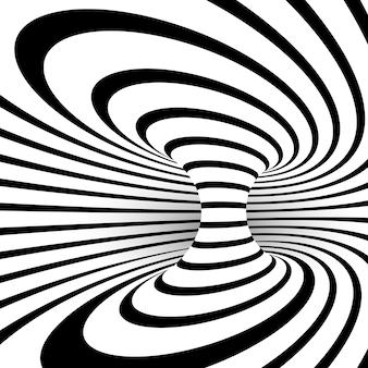 Illusion d'optique rayée noir et blanc