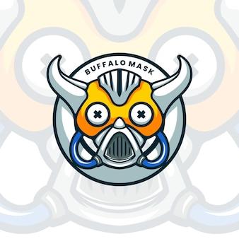 Illustartion de mascotte de masque de buffle fantastique