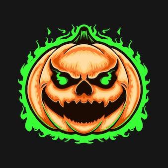 Illustation de conception de tshirt de personnage de tête de monstre de citrouille
