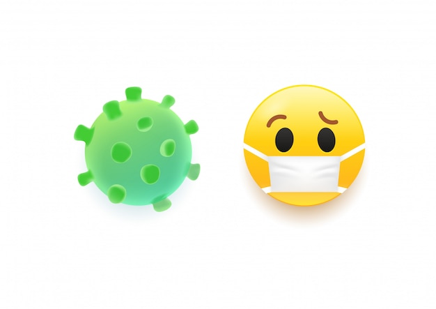 Illustraction 3d de virus et emoji.