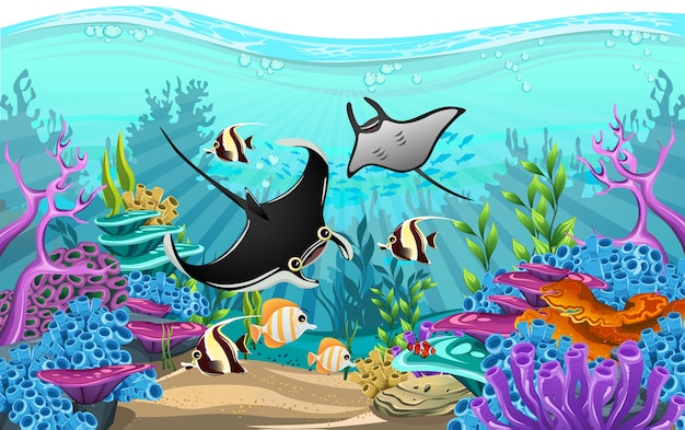 Illustrant la beauté de la vie marine avec une variété d'habitats différents, des récifs coralliens et des algues colorées