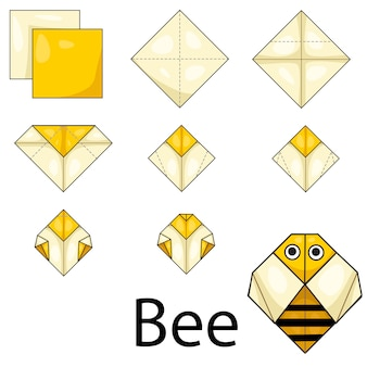 Illustrateur d'abeille origami