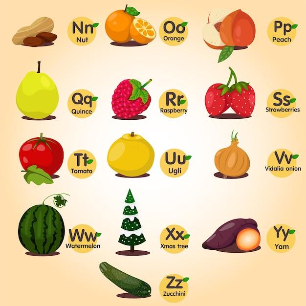 Illustrateur de az fruits ana ensemble de légumes deux