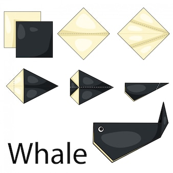 Illustrateur de baleine origami