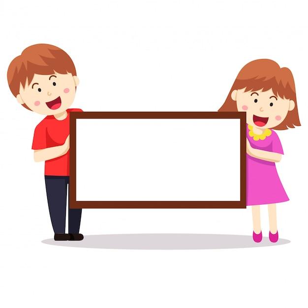 Illustrateur de bannière garçon et fille