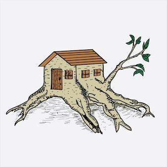 Illustrateur de cabane dans les arbres dessiné à la main