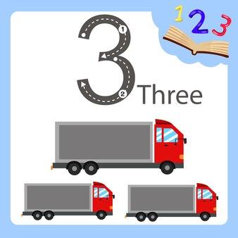 Illustrateur de camion à trois numéros