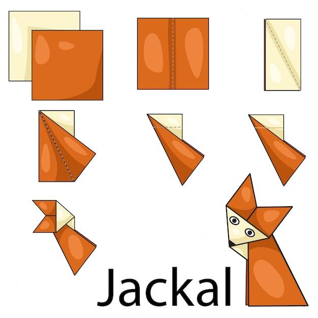 Illustrateur de chacal en origami