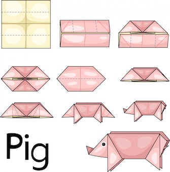 Illustrateur de cochon origami