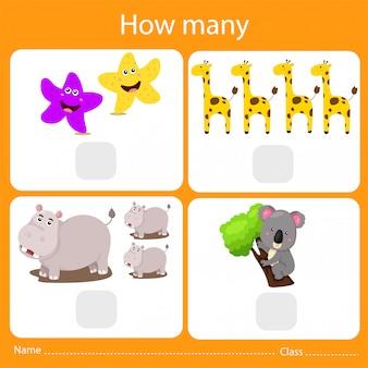 Illustrateur de compter combien d'animaux
