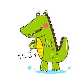 Illustrateur dessin animé mignon d'alligator