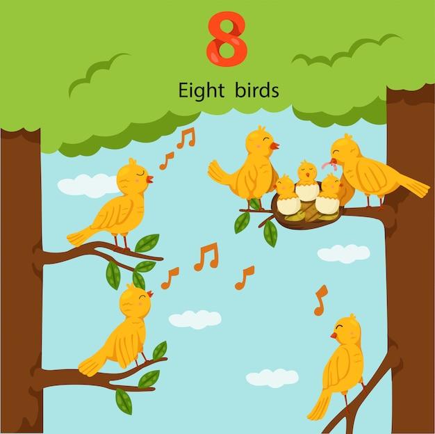 Illustrateur du nombre huit oiseaux