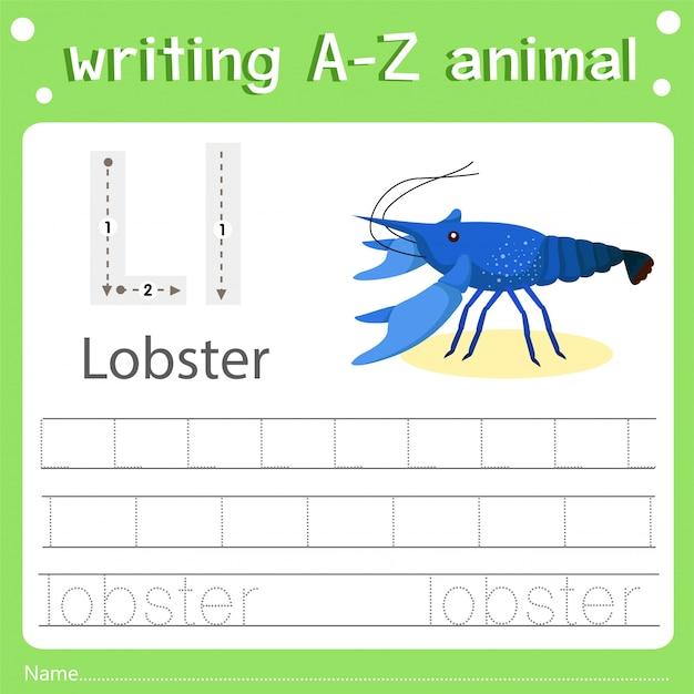 Illustrateur de l'écriture d'un animal homard