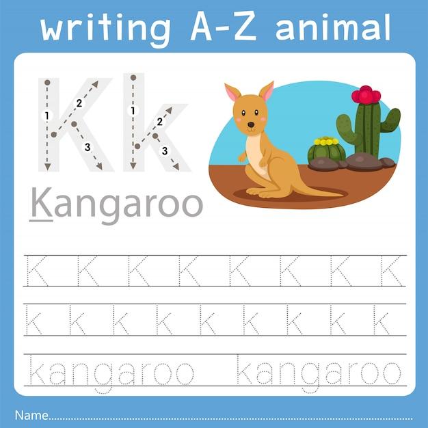 Illustrateur de l'écriture d'un animal k