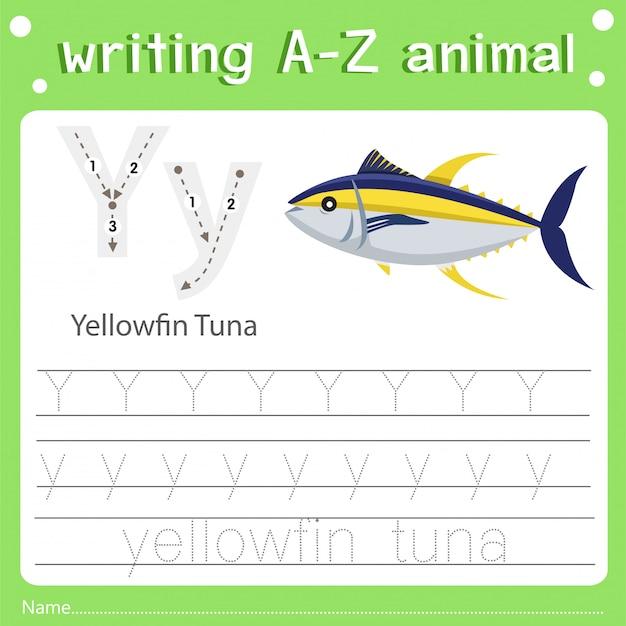 Illustrateur de l'écriture d'un animal et d'un thon à nageoires jaunes