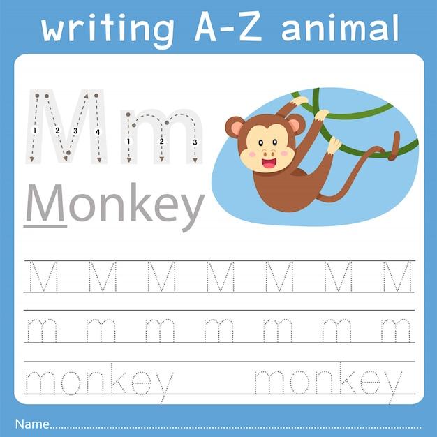 Illustrateur de l'écriture az animal m