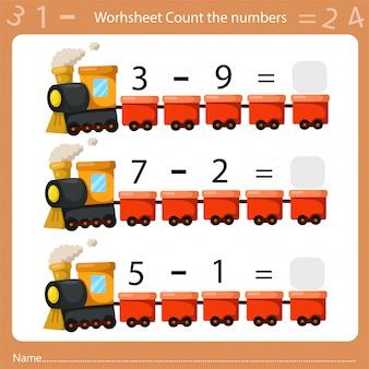 Illustrateur de feuille de calcul compte le nombre trois