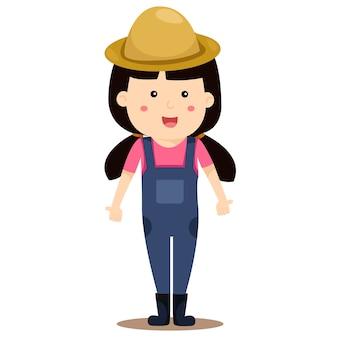 Illustrateur de fille agriculteur
