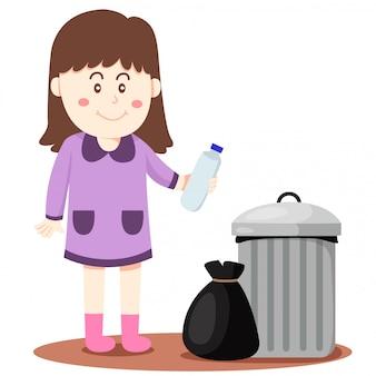 Illustrateur de fille dump dans bin