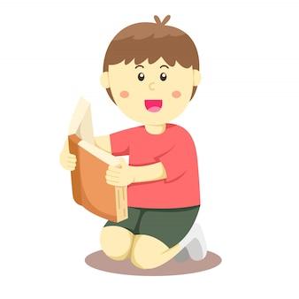 Illustrateur d'un garçon lu un livre