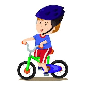 Illustrateur de garçon et vélo deux