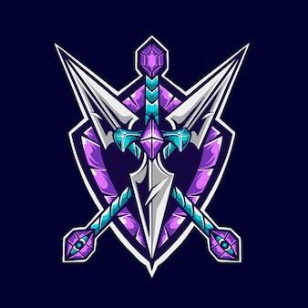 Illustrateur de mascotte de logo kunai sword and shield