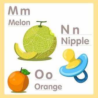 Illustrateur de mno avec mamelon au melon et alphabet orange