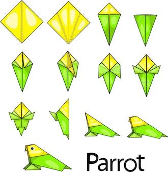 Illustrateur de perroquet origami