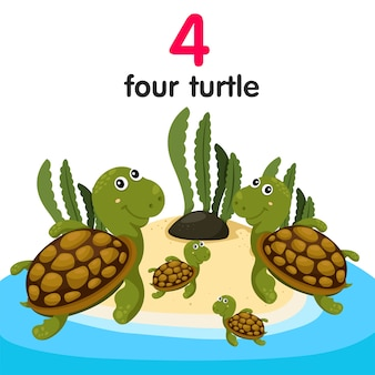 Illustrateur de quatre tortues
