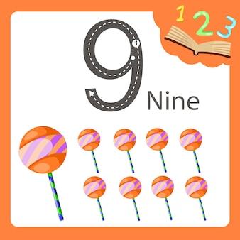 Illustrateur de sucette à neuf chiffres
