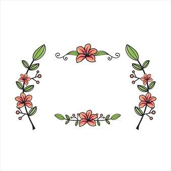 Illustrateur de tiges de fleurs et de feuilles avec ensemble